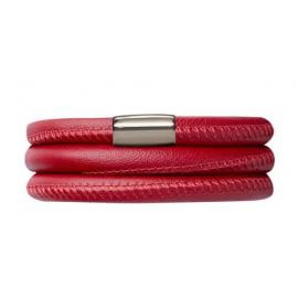 Triple Red Leather Bracelet image